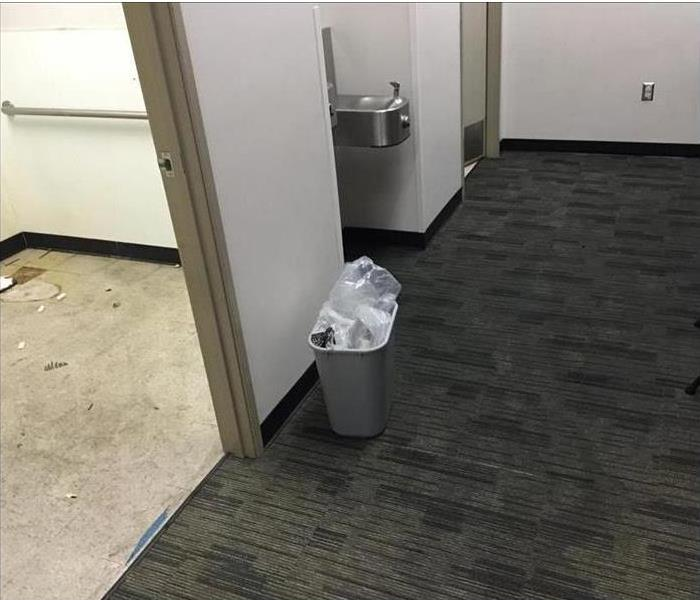 flooded bathroom at local Fed-Ex Service Center